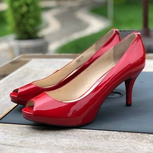 Michael Kors Patton leather Peep toe pumps